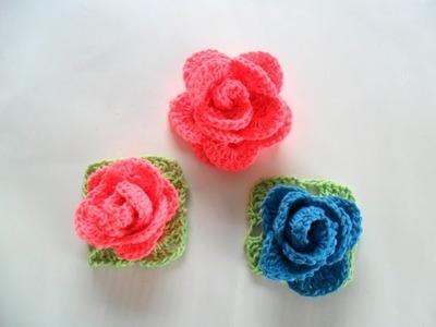 #Rosa Em Crochê Para Aplicação