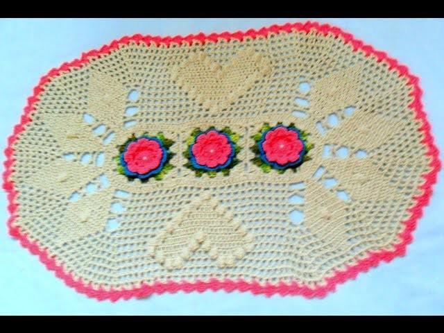 Tapete Em Crochê Flor Rosa Com Azul Parte Final