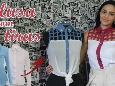 Blusa com tiras usando roupas guardadas - Diy blouse strips -  Suellen Redesign