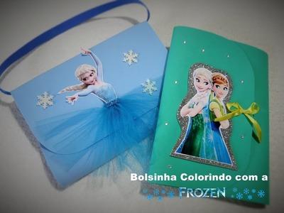 Como fazer Bolsinha  livro de colorir, Lembrancinha para festa Frozen
