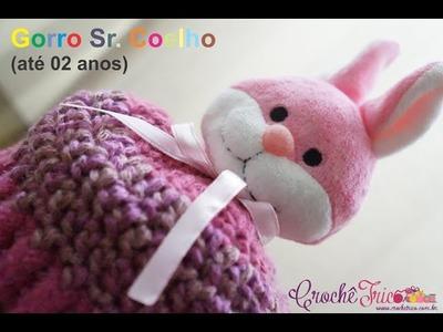 Crochê para Canhotas - Gorro Sr. Coelho (até 2 anos)
