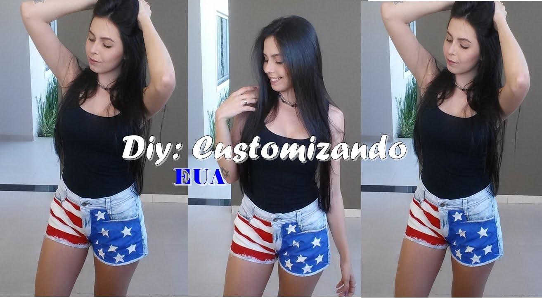 Customização de Shorts l Bandeira EUA!!