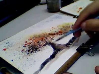 Desenhando aquarela com gotinhas - passo-a-passo