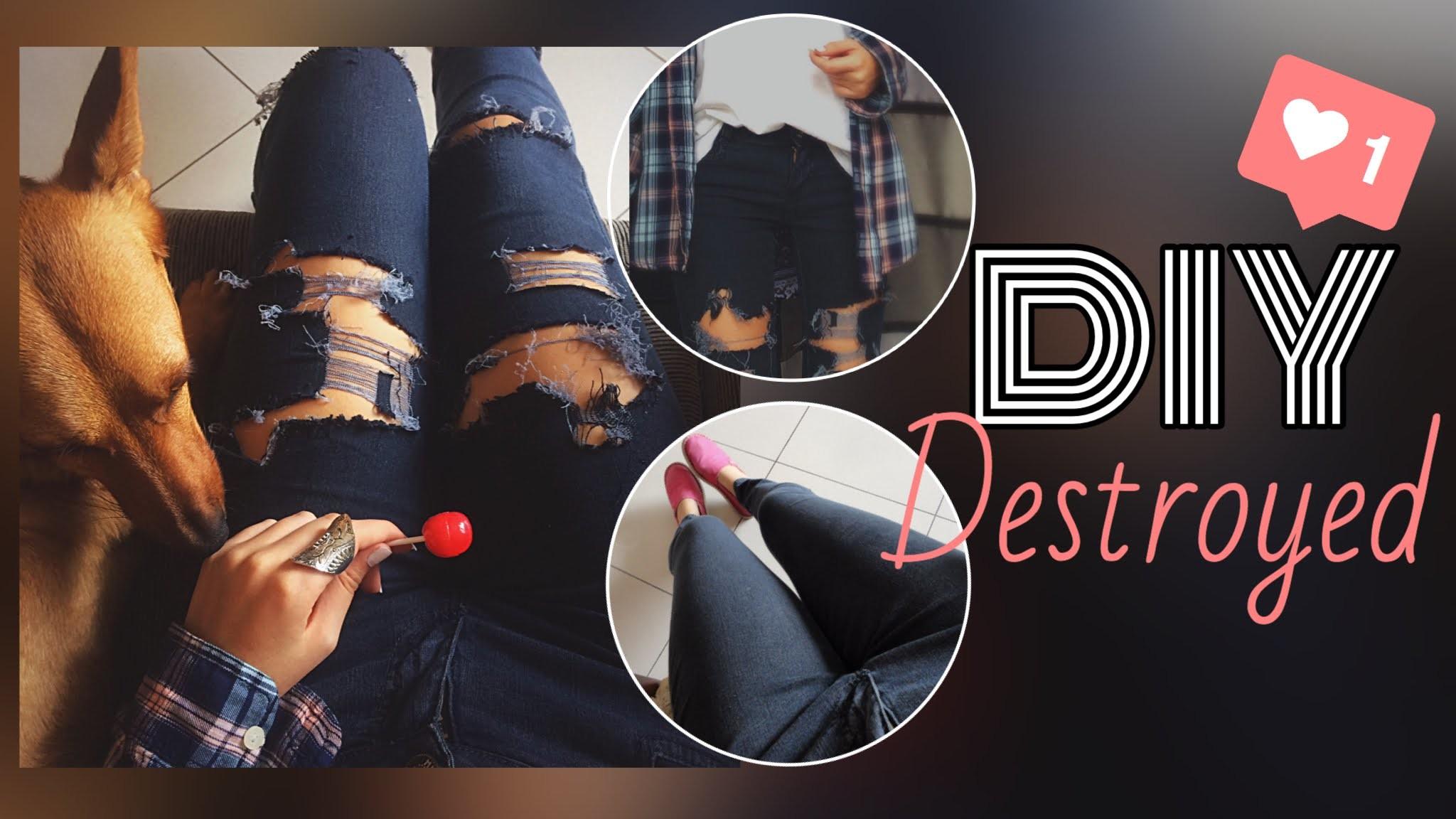 DIY. Customizando calça destroyed. Michelle Garcia