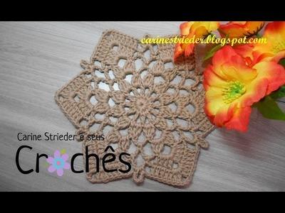 Motivo Hexagonal nº 01 em crochê por Carine Strieder