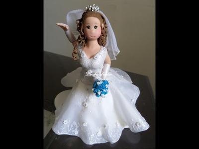 Passo a Passo Vestido de Noiva _Biscuit com aplique em tecido_Parte 3.4