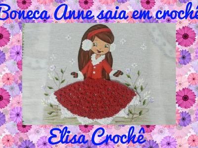 Saia em crochê para boneca de pano de prato # Elisa Crochê