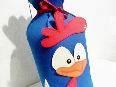 DIY - Como fazer - Sacolinha surpresa galinha pintadinha em eva - Artsdaindy