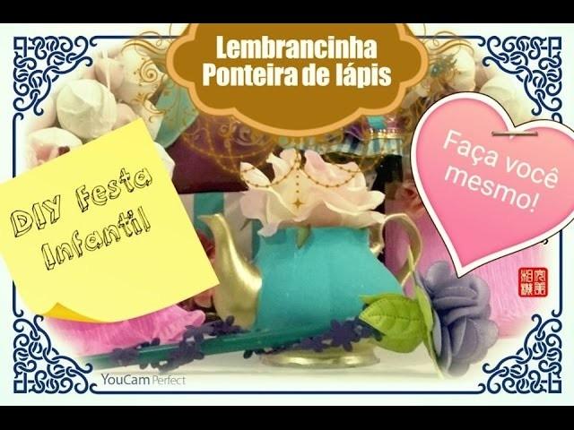 DIY: Ideias para festa infantil vídeo 3: Ponteira de lápis com flor de cetim