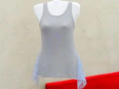 Blusa personalizada  na lateral com renda (reciclando roupa)