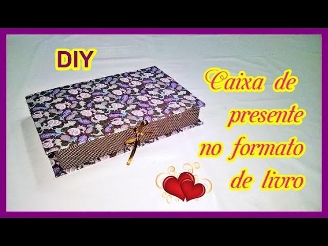 Caixa de presente no formato de livro - dia das mães, namorados, pais.