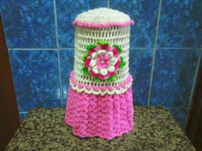 Capa para liquidificador de crochê, com flor Claudia. Passo a passo.