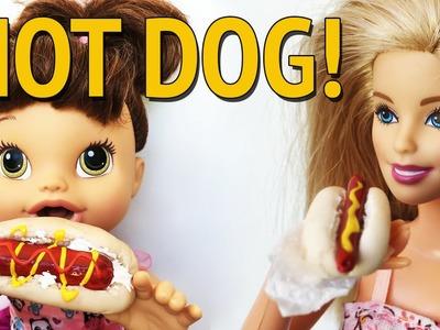 Como fazer Cachorro Quente para Barbie, Baby Alive e outras Bonecas!
