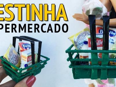 Como fazer Cesta de Supermercado para Barbie e Outras Bonecas!