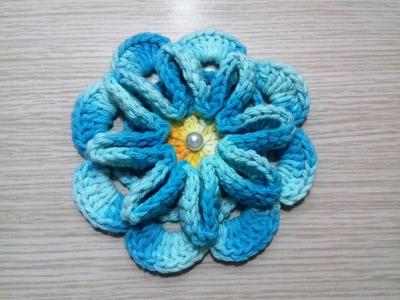 Flor de Crochê Para Aplicação # Flor Turquesa