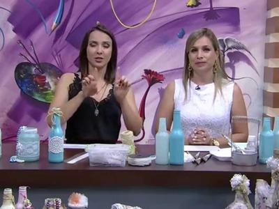 Garrafa de vidro com decoração Shabby Chic PT1   Camila Claro de Carvalho Mulher com   07 10 2015