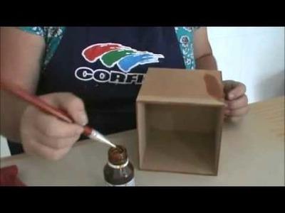 Jô Cavalcante-caixa com stêncil e pátina seca -  Completo