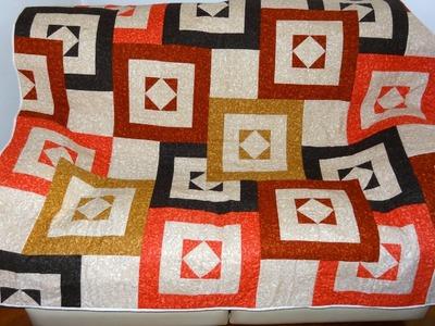 Patchwork - Manta.colcha ou panô em patchwork Os cubos - Patchwork Maria Adna - Técnica de patchwork