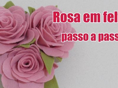 Rosa em feltro passo a passo