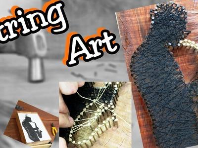String Art - Arte com barbante numa peça de Peroba