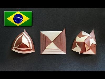 Origami: Curlicue. Arabesco  ( Assia Brill ) - Instruções em português PT BR