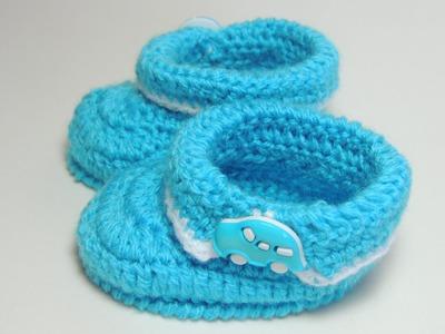 Sapatinho de Crochê Masculino com Lã Azul - Parte 1.3