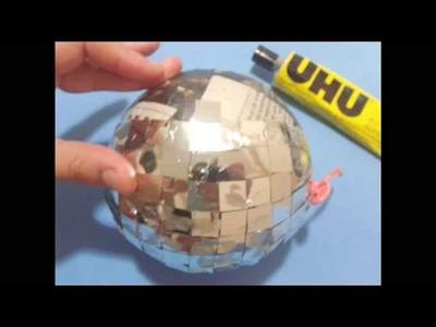DIY. Paper Mache Disco Ball ♥ Manualidades. Papel Mache Bola de Disco