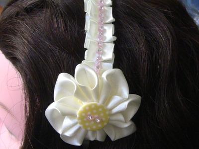 D.I.Y. NOVO modelo de Tiara com fitas e Flor Passo a Passo