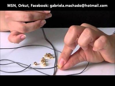 AnaGGabriela - Vídeo-aula 27 - Pulseira macramê com entremeio de caveira