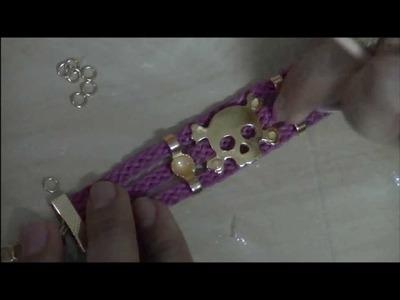 AnaGGabriela - Vídeo-Aula 66 - Pulseira com entremeio caveira e entremeio com ss 40 cristal