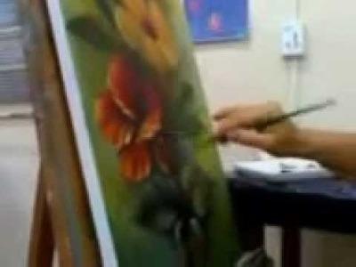 Aula de pintura em tela