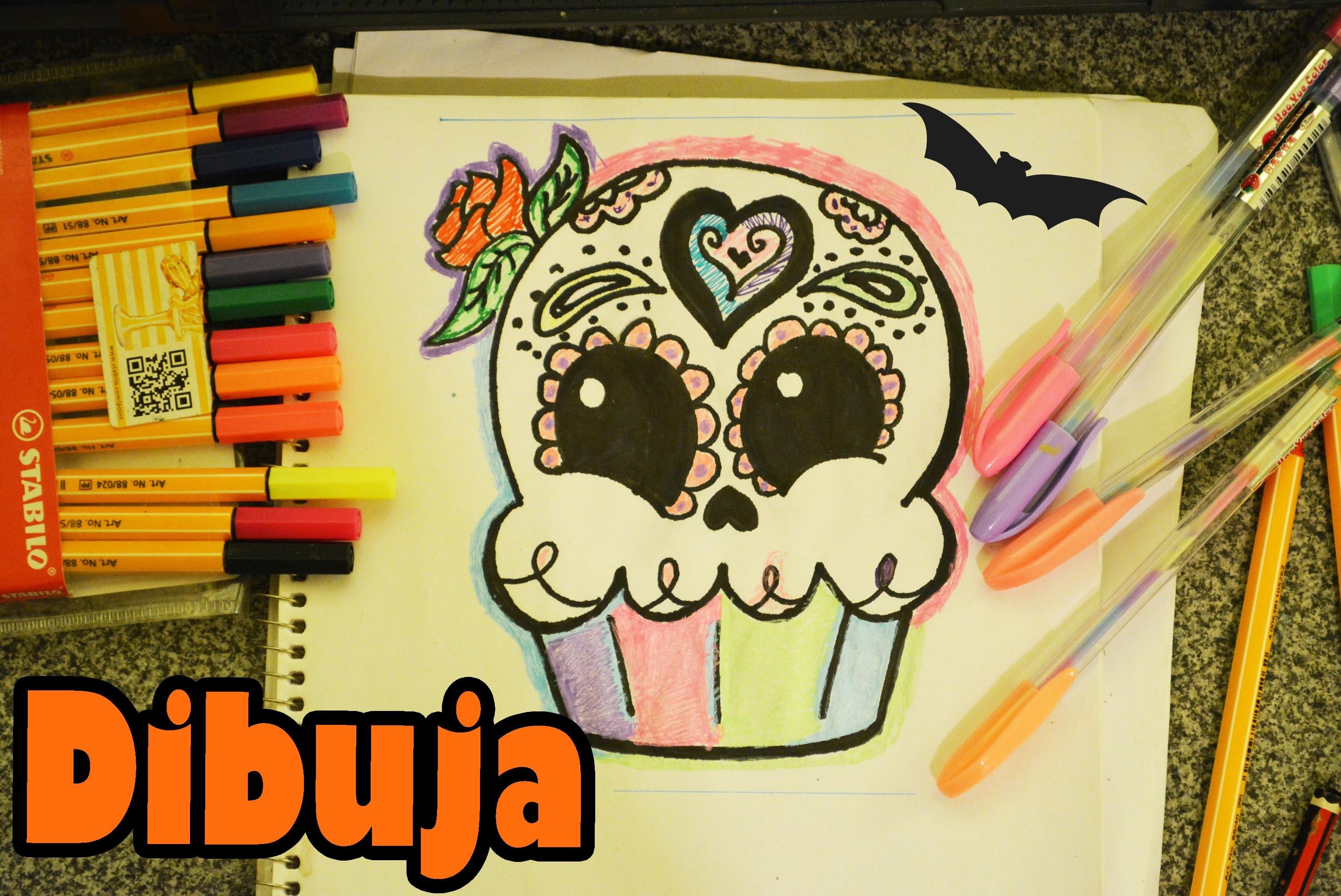 Calaverita Cupcake Aprende a dibujar kawaii Dia de Muertos Halloween