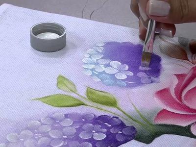 Mulher.com 29.05.2014 - Pintura de tecido rosas hortencias por Ana Laura Rodrigues Parte 1