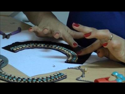 AnaGGabriela - Vídeo-Aula 71 - Maxi-Colar - feltro, correntes, fios de strass