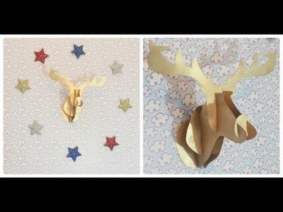 DIY: Cabeça de alce de papel para a parede - Natal