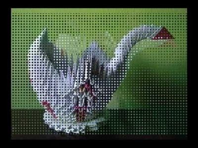 Origami 3D cesta flor  e pato de papel