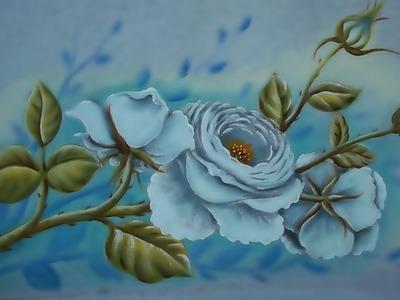 Como Pintar Rosas Brancas. Pintura em Tecido