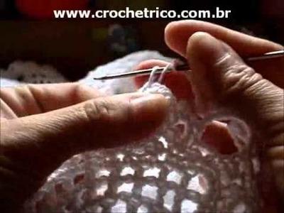 CROCHE - Bolero Branco - Tam.: P - Parte 06.07 (Sem Som)