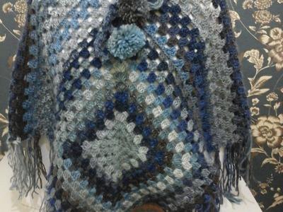 Poncho Joana em croche com Cisne Original com Cristina Amaduro