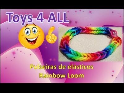 Pulseiras elasticos rainbow loom diversas exemplos