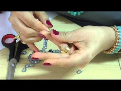 AnaGGabriela - Vídeo-Aula 86 - Pulseira silicone com cristais e madrepeloas