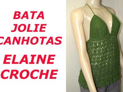CROCHE PARA CANHOTOS - LEFT HANDED CROCHET - BATA JOLIE EM CROCHE CANHOTAS