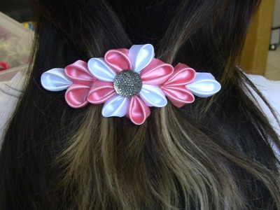 Flor  com  varias petulas Passo a Passo -Kanzashi ifuru, Ribbon Rose akam, N'onwe Gị
