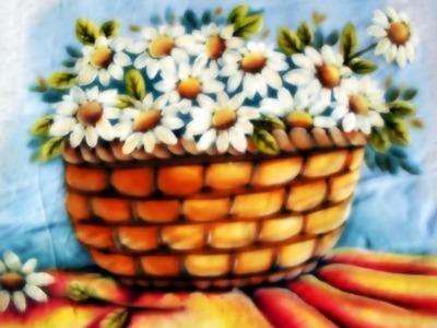 Pintura em Tecido-Cesta de margaridas! Parte 1.2
