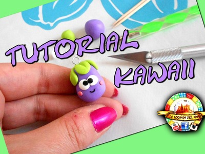 TUTORIAL FIMO --MELANZANA KAWAII--  DIY POLYMER CLAY EGGPLANT KAWAII