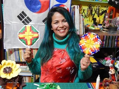Leque coreano de Origami  - Vamos dobrar?