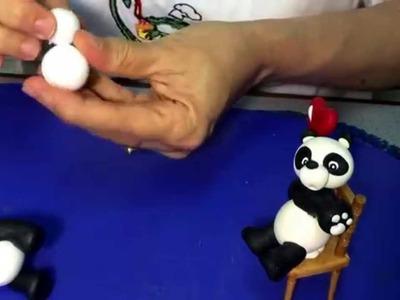 .Osito panda modelado a mano. Porcelana fría, Gum paste, Polymer clay. Orsinho panda