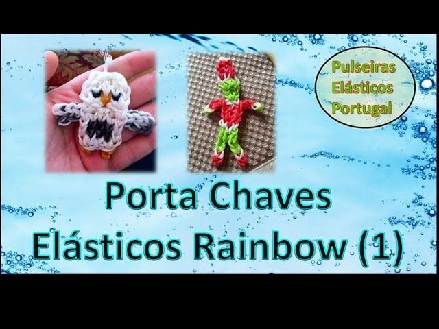 Porta chaves pulseiras elasticos rainbow loom charm bonecos parte 1 elasticos portugal