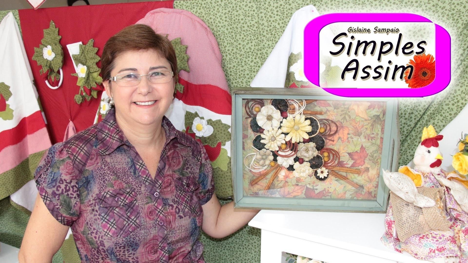 Artesanato com Ivana Márcia - Bandeja com flores