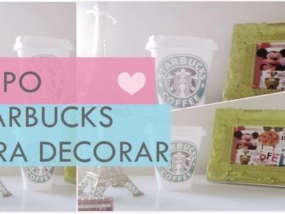 Diy ♥ transformando embalagem de danone em copo da Starbucks para DECORAR! room decor